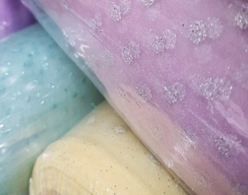 Poly Organza Crinckle Glitter Printed Woven 58...